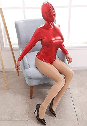 PURELOVEE SM Körper Bondage Bag Latex Kopf Maske Ganzkörper Fesseln System, Slave Fetisch Spiel Sex Toys für Frauen Männer, Paare,Red,L