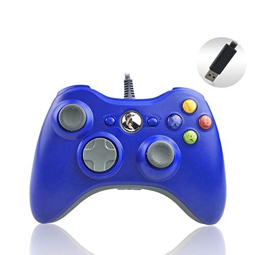 RENNICOCO Xbox 360 Controller Wired USB Game Controller Game Pad Joystick Console Xbox 360 Gamepad Xbox 360 Schwarz blau