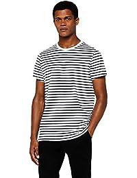 MERAKI T-Shirt in Cotone a Righe con Girocollo e Manica Corta Regular Fit Uomo
