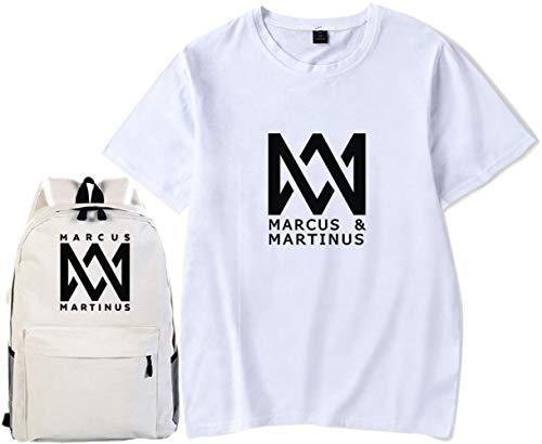 Marcus & Martinus T-Shirt Schultasche Geschenk Konzert Tee Musik- Kurze Ärmel Mode Rucksack Drucken Dekoration Spiel Campus/Weiß/S -