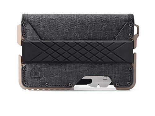 Dango T01 Tactical EDC Geldbörse aus echtem Leder, Multitool und RFID-Block - Grau - Mittel