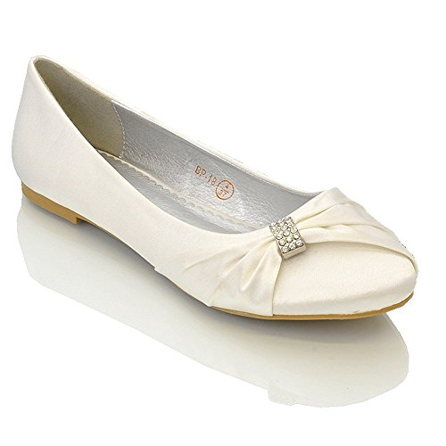 Essex glam scarpa donna satin matrimonio festa (uk 7 / eu 40 / us 9, bianco satin)