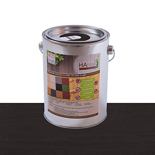 Bio Holzschutz farbig Schwarz Schutzlasur HAresil Color 1kg Eimer mineralisch schützt gegen Holzwurm, Holzwurmfrei, Holzschädlinge, Holzwurmstopp, Pilzbekämpfung für Innen und Außen (Schwarz)