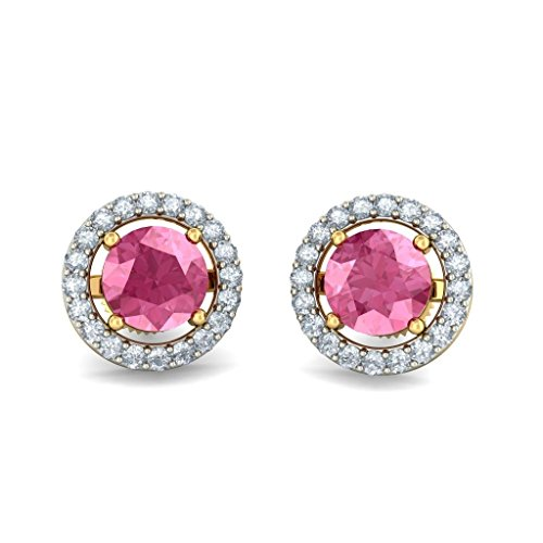 14K giallo oro 0.2Cttw white-diamond (Ij | si) e tormalina rosa orecchini