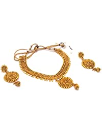 Homies International Jewellery Set, Gold Plated Jewellery Set Traditional One Gram Copper Pearl Kundan Pendant...