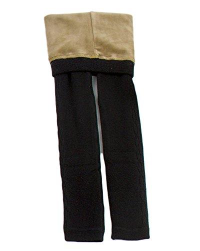 Mädchen Warm Thermo Leggings Leggins Winter Kinder Gefütterte Jeggings Elastische Jeggings Treggings Schwarz 8-10
