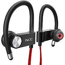 Auriculares iXCC Bluetooth Auriculares deportivos inalámbricos V4.1 con micrófono incorporado, auriculares con cancelación de ruido para iPhone 7 6s Plus, Samsung Galaxy S7 y más - Rojo