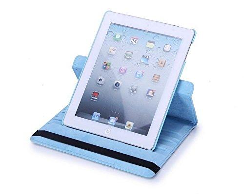 Nouveau design bleu clair en PU imitation cuir avec support rotatif à 360° Etui folio Housse pour iPad Mini 4