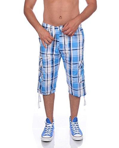 Herren Bermuda Shorts Kurze Hose Karo Bunt S M L XL XXL MK 310 (L, Blau)