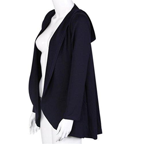 Manteau Femmes Irregular capuche, pied de col à manches longues Veste Noir