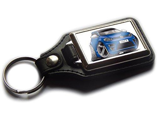 VOLKSWAGEN VW GOLF R Neue Form Sports Auto Premium Koolart Leder und Chrom Schlüsselanhänger wählen Sie eine Farbe., dunkelblau (Golf-artwork)