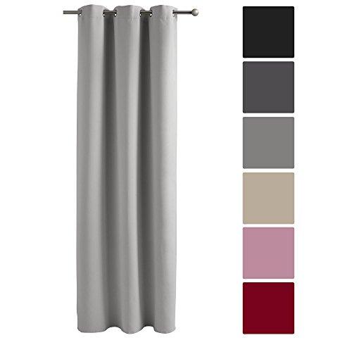 Decolicious - tenda oscurante con occhielli grigio medio 140x245 cm