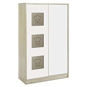 Armoire à vêtements avec 2 portes en chêne lancelot motif/blanc-modèle leonie