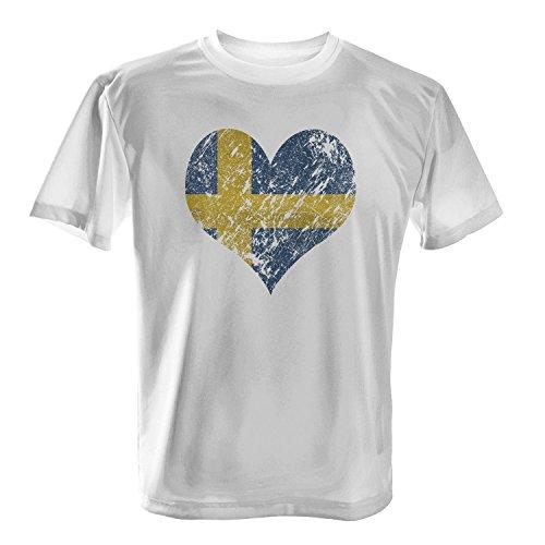 Fashionalarm Herren T-Shirt - I Love Sweden | Fun Shirt Trikot mit Vintage Flagge Print für Fußball & Schweden Fans | Wandern Urlaub | EM & WM Weiß