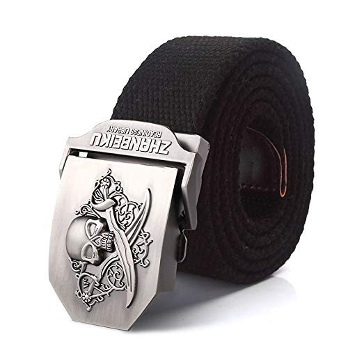 ZHYAODAI Pirate Canvas Belt Alloy Skull Buckle Belt Military Tactical Army Straps for Men Army Strap Green, Black, 130Cm.