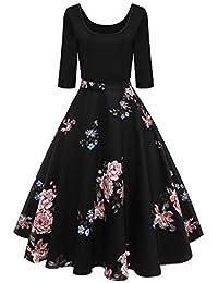 13ea8323e Sylar Vestidos De Fiesta Mujer Otoño Moda Retro Impresión De Costura Manga  Larga Suelto Casual Falda Larga Vestido para Fiesta Y Noche…
