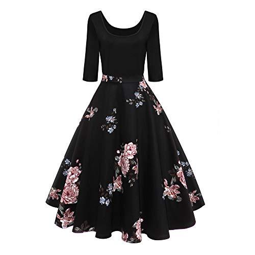 Dorame vestiti vintage natale donna, cocktail dress mini abito elegante cerimonia cocktail floreale abito a-line stile vintage anni'50 audrey hepbun