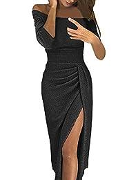 Vestidos Invierno Mujer, ❤️ Zolimx Faldas Largas Fiesta Negra Backless Vendaje de Manga Larga O Cuello de Encaje Vestido de Cóctel