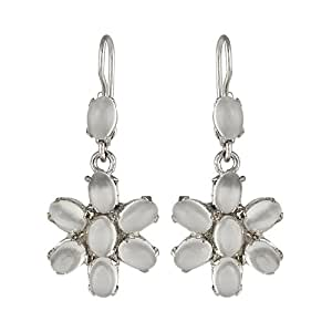 Silver Kreations Pure Silver Moon Stone Earring With Platinum Polish for women
