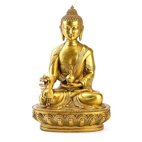 DDCYY Buddha-Statue des Apothekers, Statue Aus Reinem Kupfer, Schreibtischkollektion, Wohndekoration, Symbol Der Gesundheit, Gold (14 X 9 X 21 - Apotheker Kostüm