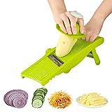LP Mandoline , Cutte & julienne di verdure manuale , Spiralizers, grattugia per patate, pomodori, cetrioli, formaggio, limone, cipolla, ecc. Vegetable Slicer green