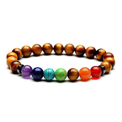 Glittel 2 Pcs 8mm Buddhismus Glauben Chakra-Perlenarmband aus Onyx-Lava-Natursteinen Energiearmband mit Jaspis-Weltkugel Buddha Armreif Yoga-Armband 22er Beads