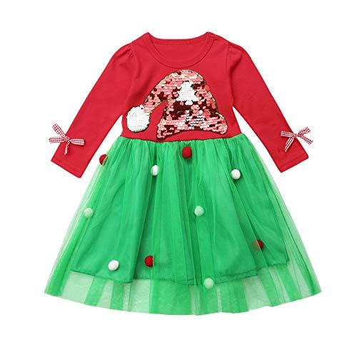 Rosennie Neugeborenes Baby Mädchen Pailletten Weihnachten Tutu Party Kleid Outfits Christmas XMAS Party Dress Taufkleid Festlich Kleid Mode Prinzessin Kleid Kleinkind Sequins Kleider(Rot,100)