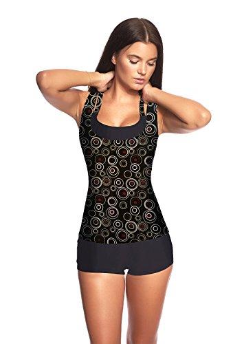 3 tlg. Damen Push up Tankini Set mit Shirt Top Hotpants -Ideal für Strand Sport Yoga Fitness Bikini Badeanzug verschiedene Farben und Größen f5389 3tlg. Set Schwarz/Braun bedruckt U(1074F)