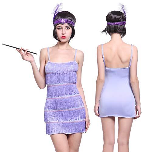 Anladia 20er Fransen Flapper Kleider Fransenkleid Tanzkleid Partykleid Kostüm mit Kopfschmuck ()