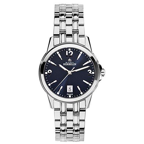Michel Herbelin Unisex Erwachsene Analog Uhr mit Edelstahl Armband 14250/B25