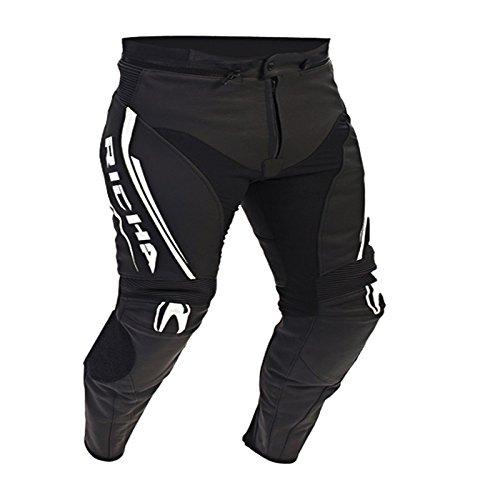 Richa Monza CE in pelle moto jeans/pantaloni-nero/bianco