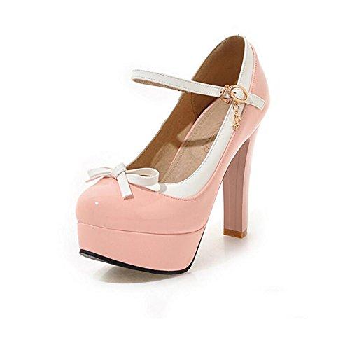 YIXINY Escarpin Printemps Chaussures Pour Femmes Talons Hauts Plate-forme Imperméable Sweet Mignon Loisirs Tête Ronde Talon Épais