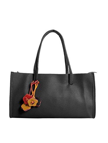 allegra-k-femme-texture-cuir-pu-decoration-fleur-boite-sacoche-noir-taille-unique