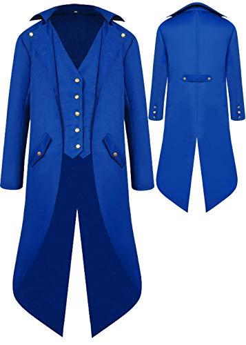 BITSEACOCO Herren-Jacke, Gothic, Mittelalterlicher Steampunk, Vintage-Stil, viktorianischer Frock, hoher Kragen - Blau - XXX-Large