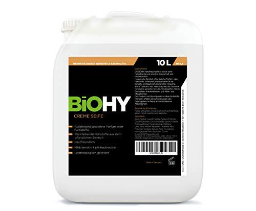 BIOHY Creme Seife 10 Liter Kanister - Flüssige Creme-Seife/Handseife Rückfettend ohne Parfüm oder Farbstoffe, Mild/sensitiv & ph-neutral Dermatologisch empfohlen, professionelle Bioreiniger