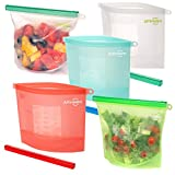 5 x Reusable Silicone Food Bags by Affiniden® | Large Size Storage Bag Multipack (5 x 1500 ml) | Eco-Friendly Set