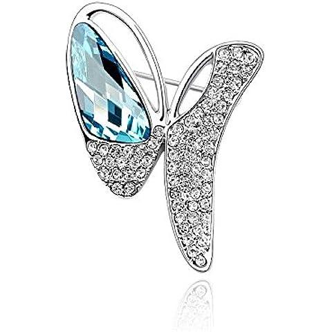 DEPOT TRESOR perno en forma de mariposa con cristales auténticos, SwarovskiElements patines, color negro y azul marino