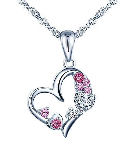 Unendlich u - ciondolo in argento sterling 925 con zirconi multicolore, elegante, da donna, ragazza, con cuori intrecciati, collana in argento