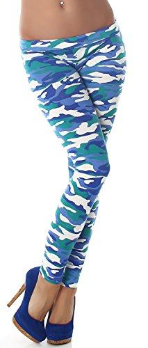 P.F. Leggings lang mit Muster, army blau Größe 32 34 36
