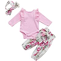 cinnamou 3Pcs Baby Geraffte Strampler Jumpsuit + Hose mit Blumendruck + Stirnband-Sets