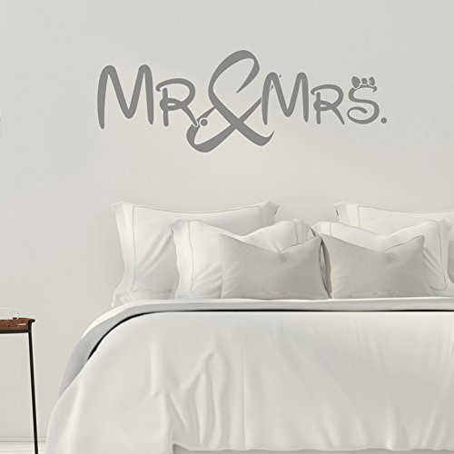 Mr. and Mrs. - Mister - Misses - Schlafzimmer - 35 cm x 100 cm - Wandtattoo - Grau