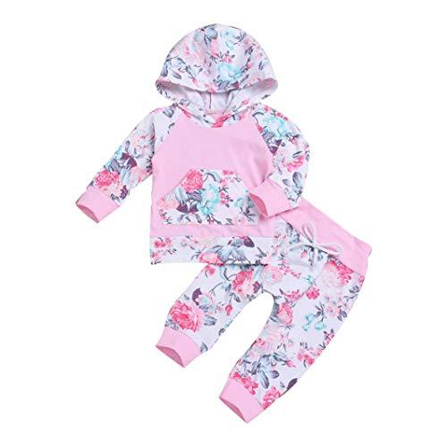 sunnymi 2 TLG Tops + Hosen Baby Mädchen  Blumen Hoodie  Winter Lange Ärmel Kleidung Set Für 0-24 Monate (12-18 Monate, Rosa) -