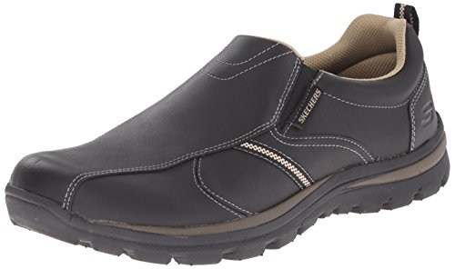 Skechers Manlon Mens Lightweight Casual Shoes 9 BKTN BLACK/TAN