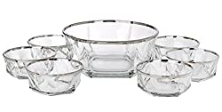 5th Avenue Collection Italian Crystal Dessert Bowls Ice Cream Bowels Silver Band 7 Piece Set