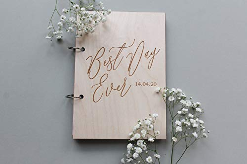 Mari57llis Personalized Wedding Guest Book, Best Day Ever Guestbook, Cursive Guest Book, Wooden Guestbook, Modern Guest Book, Calligraphy Guest Book, Custom Guestbook