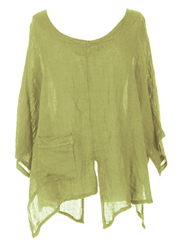 Ladies Womens Italian Lagenlook V Cutout Hem Batwing Sleeve Plain Linen Oversized Boxy Tunic Top Blouse One Size Plus (Lime Green, One Size) (Floral Linen Tunic)