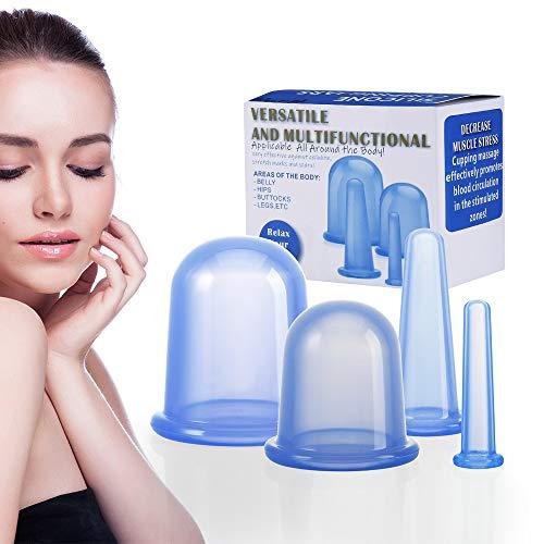Schröpfen Silikon Vacuum Cup Cellulite Cup Massagegeräte tools set 4 Stück Schröpfgläser Anti Aging Anti Cellulite Zurück Körper für Gesicht und ganzen Körper