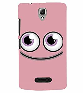 PrintVisa Cute Cartoon Pink Smiley 3D Hard Polycarbonate Designer Back Case Cover for Lenovo A2010
