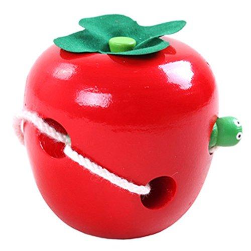 Juleya Kinder Hölzerne Caterpillar Essen Äpfel Spiel Pädagogische Spielzeug, Holz Threading Apple Tragen Seil Montessori, Obst Kinder Holz Schnürung Aktivität Puzzle Spiel Spielzeug (Holz-threading)
