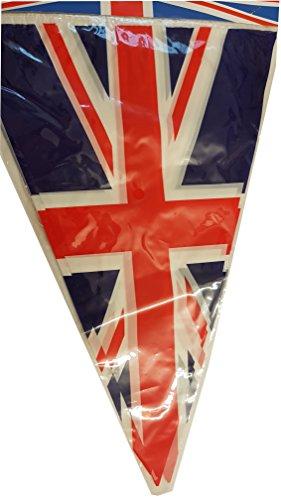 Union Jack Bunting - Satz von 6 britischen Flaggen - für themenorientierte Party / Geburtstag / Jubiläum / Hochzeit / Kostüm / Festival / rot, weiß und blau / Großbritannien Dekorationen / GB Banner